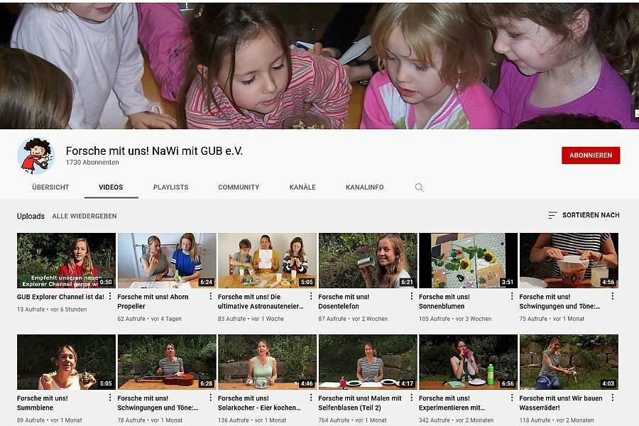 Screenshot der YouTube Kanäle